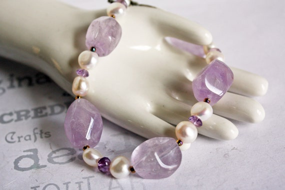 Chunky Amethyst and Pearl Bracelet Handmade Artisan Jewelry