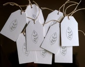 SPECIAL OFFER, Leaf Tags, Gift Tags, White Gift Tags, Glitter Tags, Silver Glitter