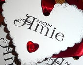 Heart Friendship Tags - Mon Amie - Set of 5 - White, black and red - gifts, wedding favors, anniversary, birthday, bookmarks
