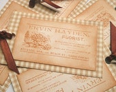 Old Fashioned Tags Ephemera Vintage Style - Floral -  Ideal for your Scrapbooking, Journalling, Wedding Gifts - Set of 5