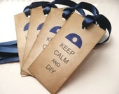 Keep Calm and DIY - Set of 4 Vintage Style Tags with dark blue ribbon - Father's Day, Dad, Brother, Uncle, Nephew, Birthday