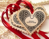 Christmas Heart Gift Tags - Pure Luxury in a Vintage Style Tag - Set of 4 - Bright Red Ribbon
