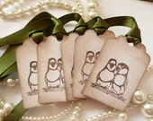Lovebird Vintage Tags - Vintage Inspired Set of 5 - Gift Tags with Lovebirds - Olive Green Ribbon - Ideal Wedding Tags