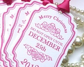 Christmas Tags 2012 - Personalised - Do Not Open Until December 25th - Pink Gift Tags