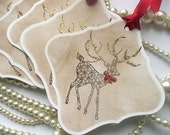 Christmas Tags - Set of 5 Large Vintage Christmas Square Tags