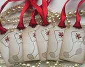 Christmas Stocking Vintage Tags - Vintage Inspired Set of 6 - Gift Tags With Red and Gold Glitter and Bright Red Satin Ribbon