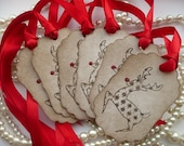Reindeer Christmas Tags Large Vintage Style Tags - Set of 6  - Bright Red Ribbon and Rudolph Glittery Nose