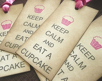 Keep Calm and Eat a Cupcake - Set of 10 Vintage Style Tags with magenta/fuchsia ribbon