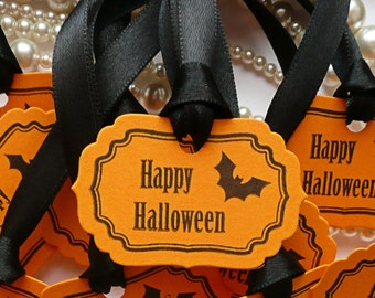 Happy Halloween Tags - Set of 10 Favor Tags, Party Decorations - Orange and Black with Bat