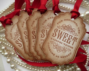 Candy Buffet Tags, Red Candy Buffet, Red Candy Station Tags, Sweet labels, Valentines Day Wedding Favor Tags, SET of 5 CODE S5