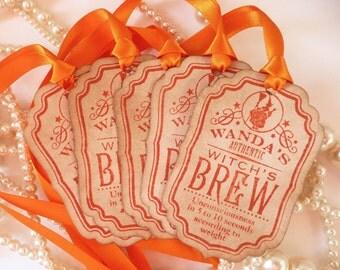 Orange Halloween Tags - Wanda's Witch's Brew Wine Bottle Labels - Set of 5