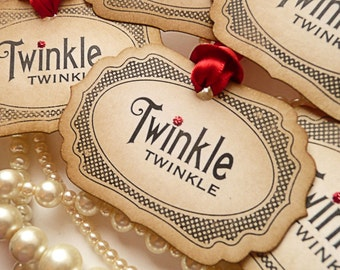 Red Christmas Tags - Vintage Style - Set of 5  - Twinkle Twinkle with Bright Red Ribbon 2016
