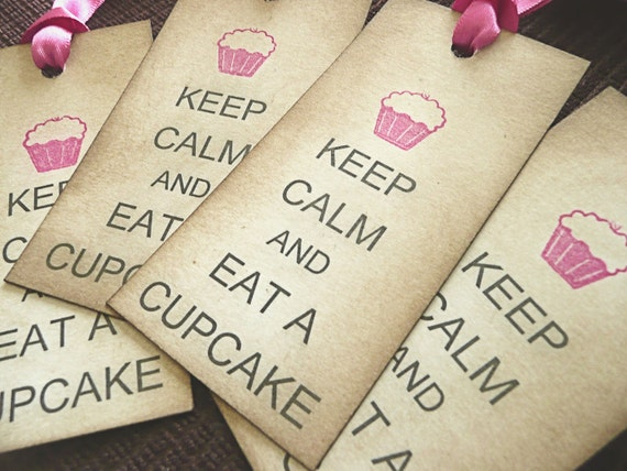 Keep Calm and Eat a Cupcake Fuchsia Pink - Set of 4 Vintage Style Tags Satin Ribbon