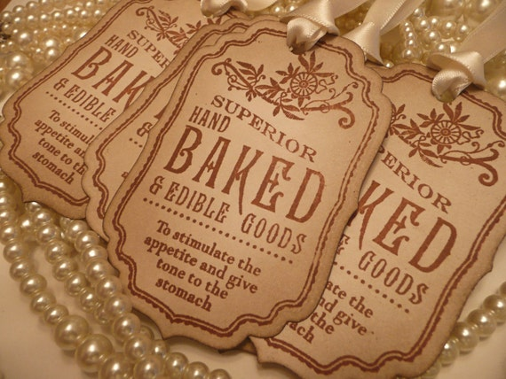 Superior Hand Baked Goods Novelty TAGS - Brown Vintage Style, Cream Ribbon - Ideal Wedding Favor Tags, Gifts, Party and Buffet Tags CODE B3