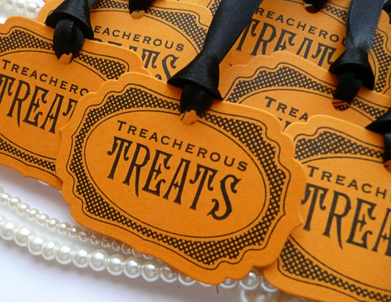 Halloween Tags - Treacherous Treats  - Halloween Wedding Favor Tags - Set of 8 party decorations - Orange and Black