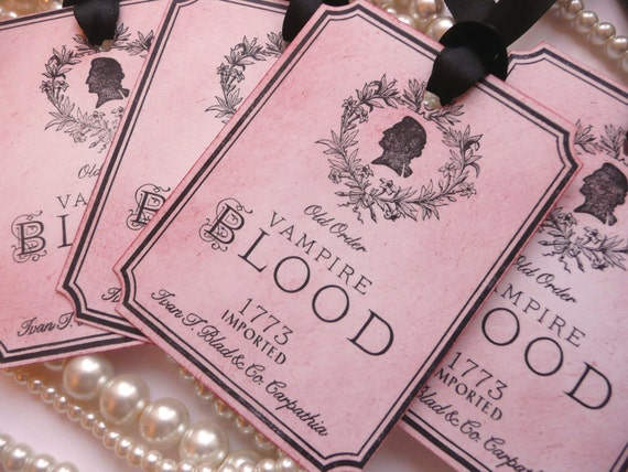 Vampire Blood Halloween Wine Tags - Gothic Style with Black Ribbon Set of 5