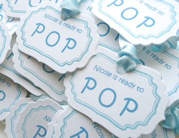 Baby Shower Tags, Ready to Pop Tags, Blue Baby Shower, Baby Shower Favors, Pink Baby Shower, Baby Favor Tags