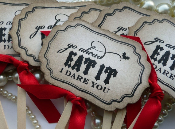 Eat It I Dare You Cupcake Toppers - Gothic or Halloween Weddings - Set of 8