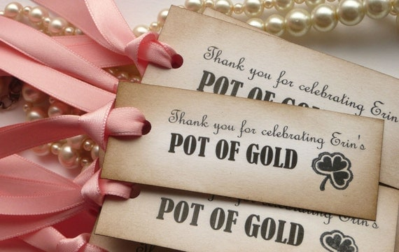 Baby Shower Favors, Baby Shower Pink Tags, Pot of Gold Favors, New Baby Tags, Birth Announcements