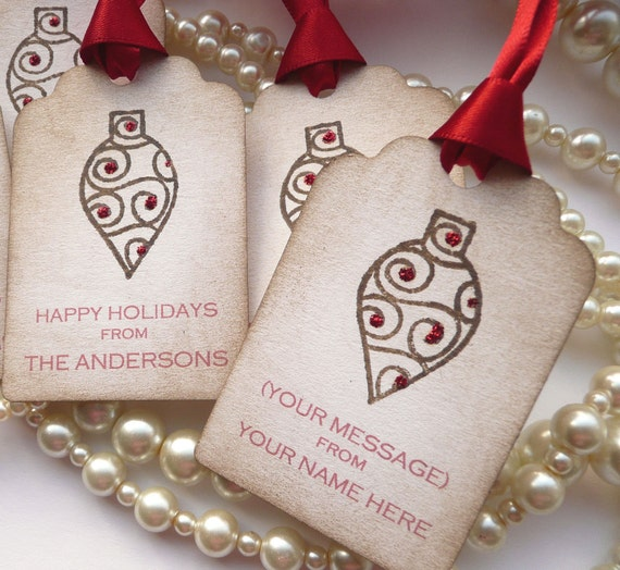 Custom Christmas Holiday Tags - Personalised with your family name - Vintage Style Set of 5 - Baubles and Glitter - Bright Red Ribbon