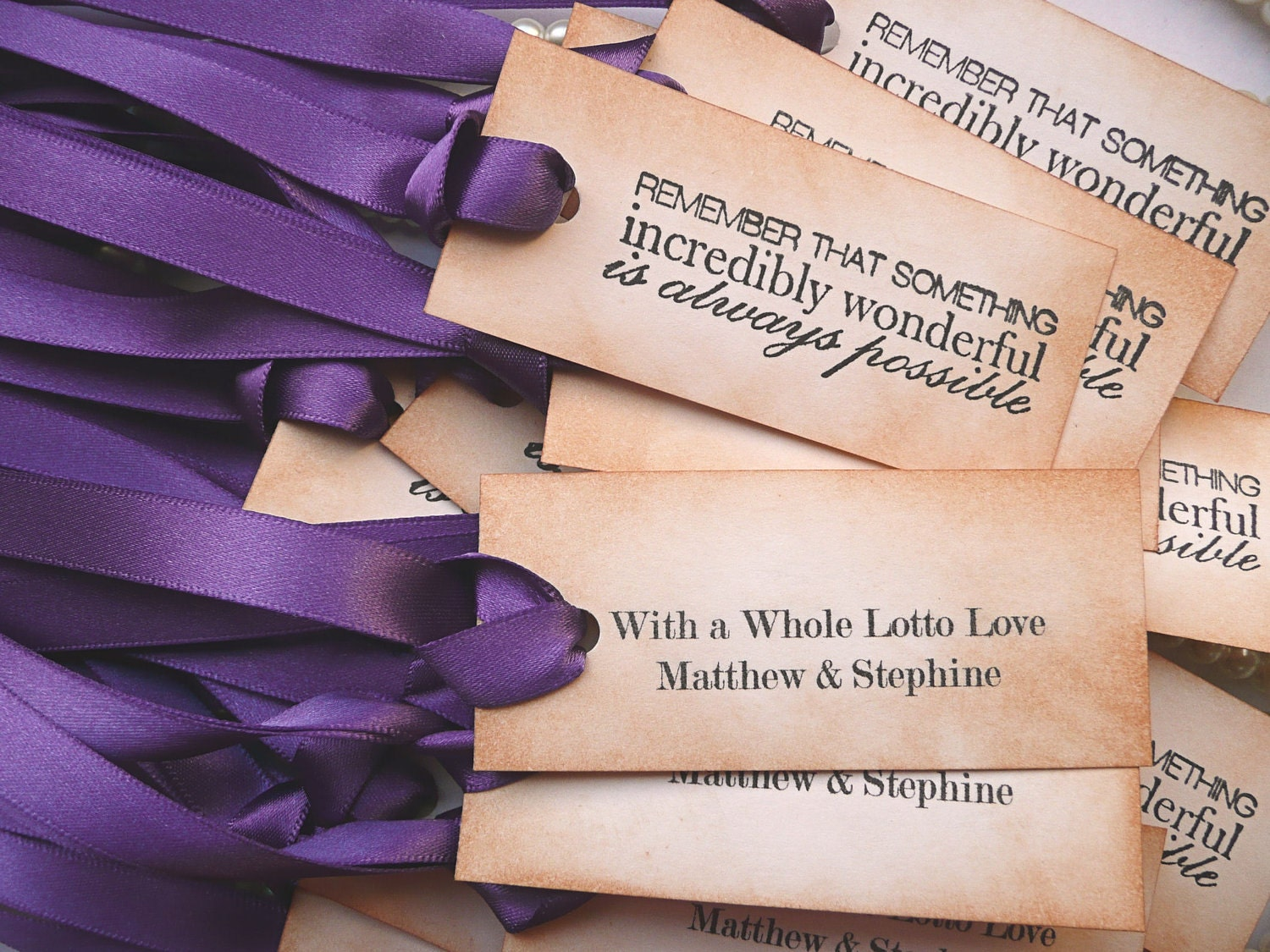 Wedding Favor Tags Messages : Purple Wedding Favor Decoration Tags 50 Vintage Style with