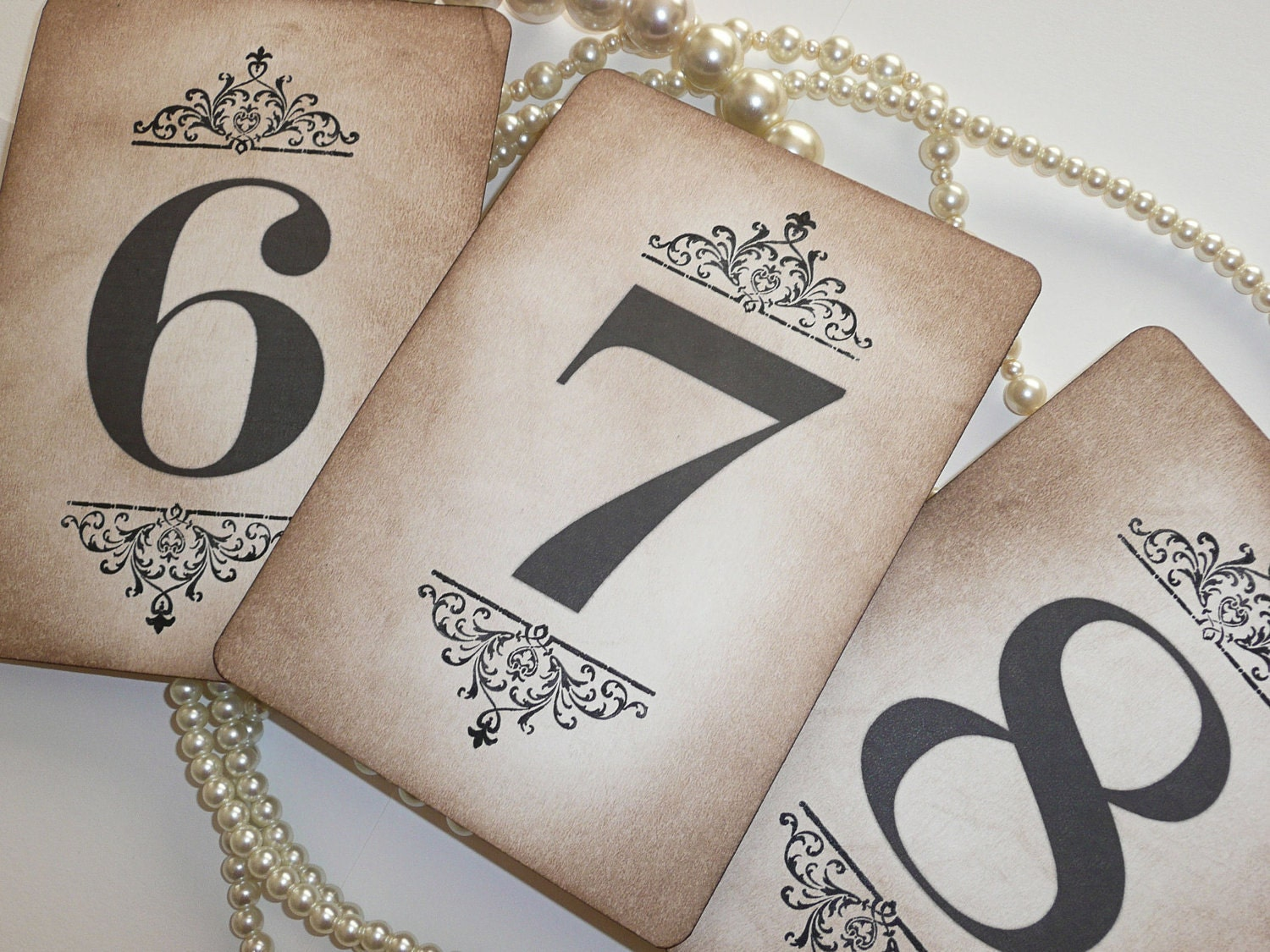Darcy wedding table number cards vintage charm all for Table numbers