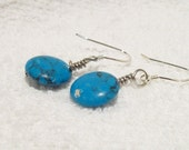 Stylish and Beautiful 925 Sterling Silver Genuine Turquoise Disc Earrings  Free Shipping