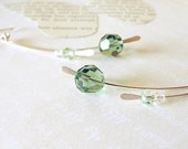 Sprout Earrings. Erinite and Chrysolite Crystal.