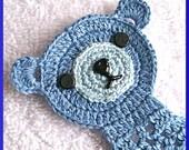 Teddy Bear Bookmark, Bluebeary, Thread Crochet