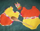 Crochet Summer Hot Pad and Dishcloth Set, Swimsuit