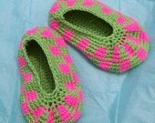 Neon Checkered Slippers, Crochet
