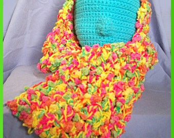 Crochet Scarf, Sunshine Yellow