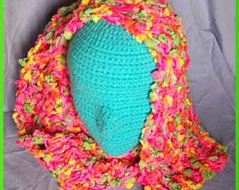 Hot Pink Fiesta Scarf, Crocheted