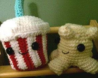 Amigurumi Soda and Popcorn,  Made to Order