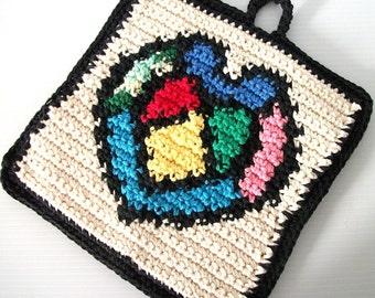 Crochet Potholder, Stained Glass Heart