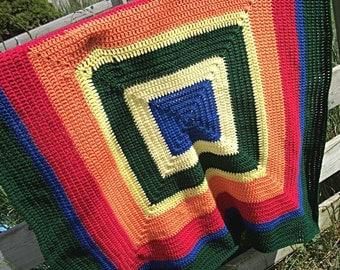 Crochet Afghan, Rainbow Granny