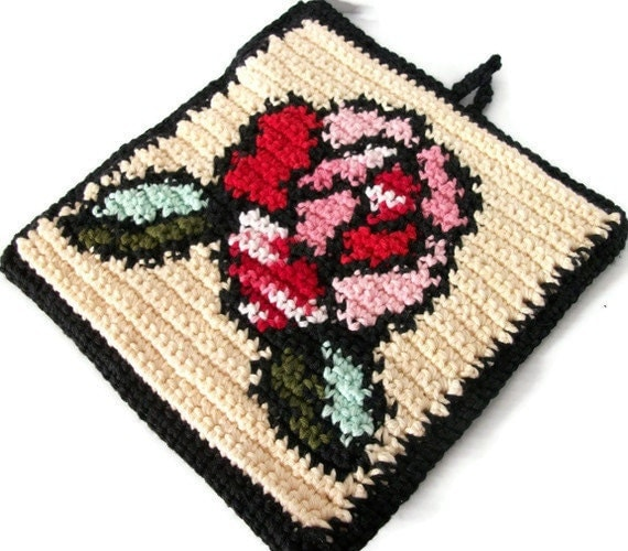 Crochet Hotpad, Stained Glass Rose