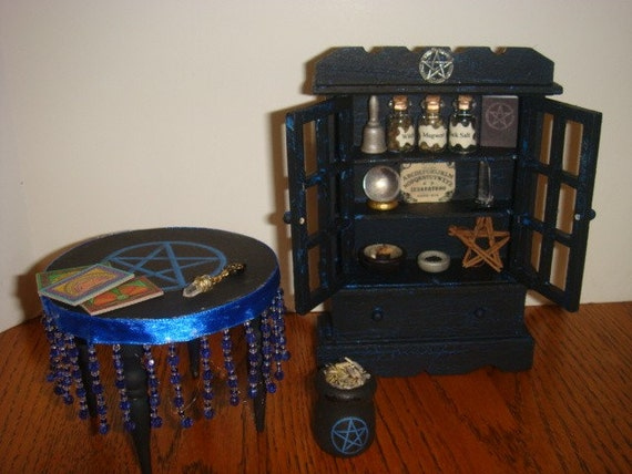 Dollhouse Miniature Witch Pagan wicca Hutch, table and accessories