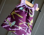 dress - purple, birds, monogram personalized baby girls lilac shower gift 2T 3T 4T 5T 12 months 18 months 3-6 months