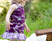 dress -Fall purple birds lilac ruffle baby toddler 3-6 months 12 months, 18 months 2T 3T 4T 5T 6