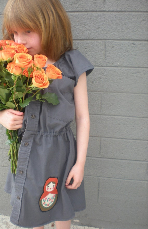 dress - girls upcycled recycled eco friendly baby toddler 12 months, 2T 3T 4T 5T, grey, gray  Russian doll