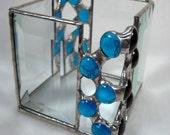 Zig-Zag Blue Candle Holder