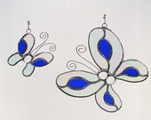 Clear and Blue Glass Butterfly Duo