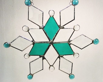 Teal and Beveled Glass Snowflake