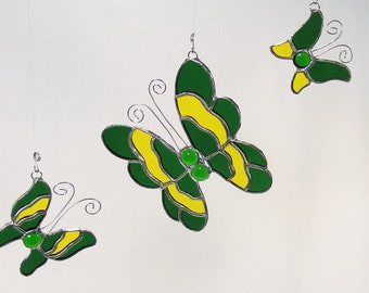 Bright Green and Yellow Glass Butterfly Trio