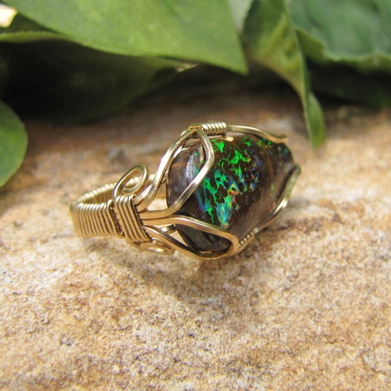 MUST SEE Rainbow Colored Opal Ring - Gold Filled