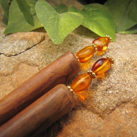 "Natural Amber and Wood Hair Sticks - 6"""
