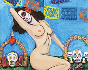 day of the dead pin up girl 2 print