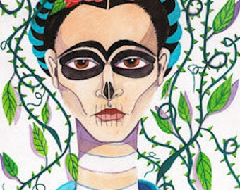 frida with vines print