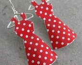Recycled Tin Mini Dress Earrings- No. 96 Red w/ White Polka dots